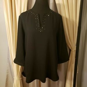 Black  Embellished Tunic Blouse  MEDIUM